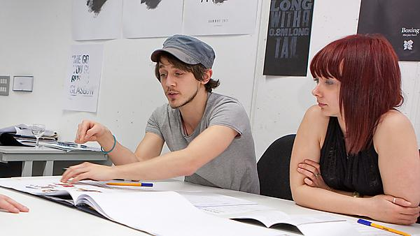 Graphic communications students in the studio