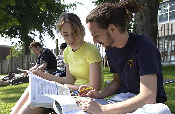 Students sat outside with foreign language study materials