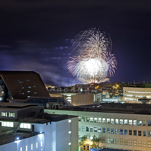 Fireworks above Plymouth University