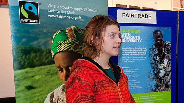 Plymouth University Fairtrade stand and student