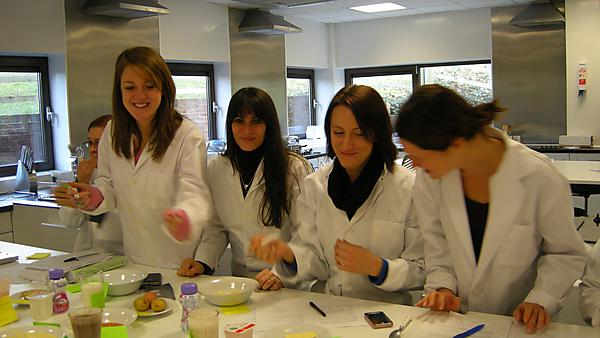 Dietetics students in a practical session