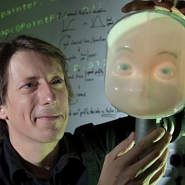 The LightHead robot is used to study social interactions between people and robots