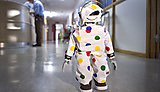 Humanoid robots being used by children in the children's ward at Derriford Hospital