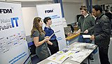 Mathematics students and potential employers at an on-campus Mathematics and Statistics careers event