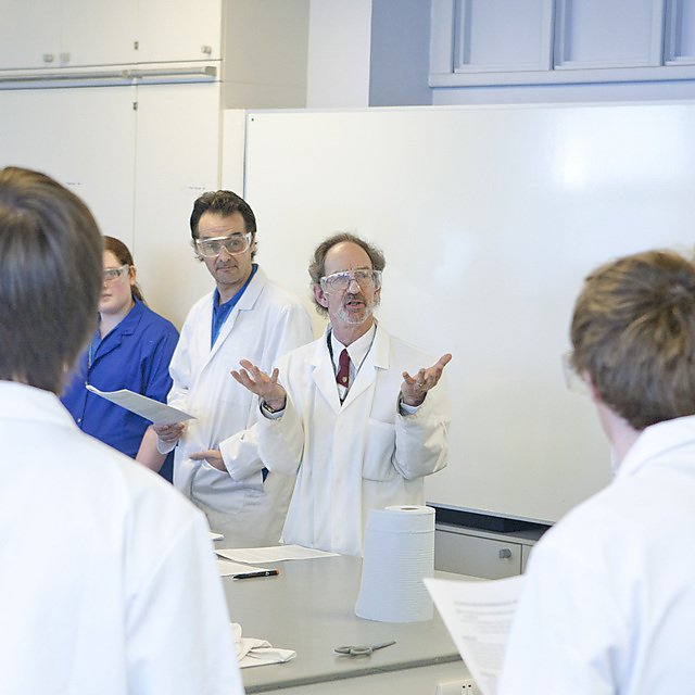 students being taught in a lab