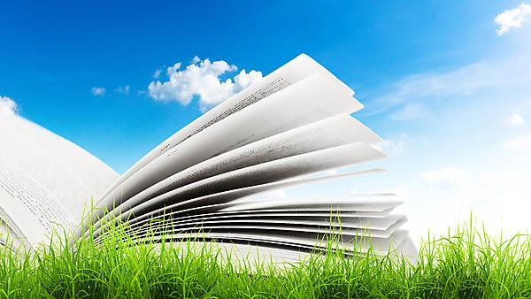 Book in green grass with bright blue skies.