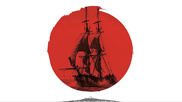 The Clove sailing over the Rising Sun of Japan
