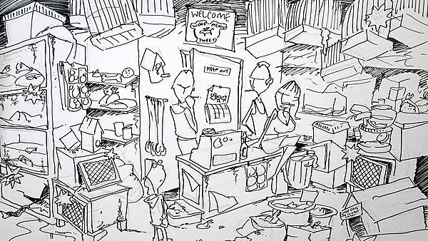 Set Construction Project - The Pet Shop, initial visualisation sketch