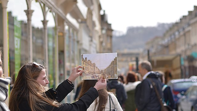 Student in Bath on a field trip - part of the Jane Austen module