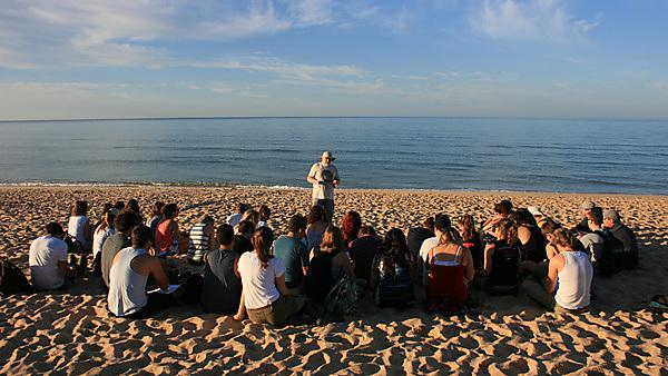 Lecture on a beach on the Portugal field course