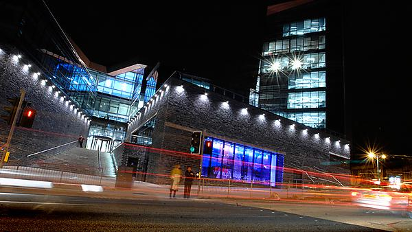 Roland Levinsky Building at night
