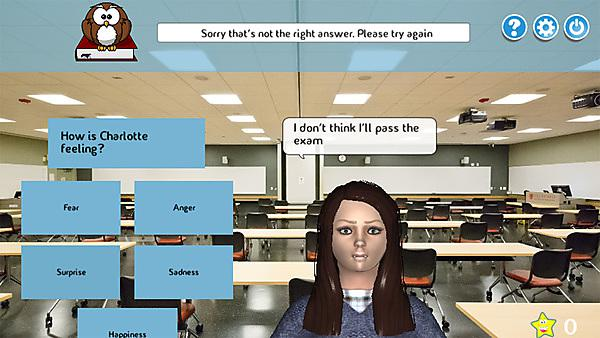 Screen shot of the interactive game to assess children's emotional development