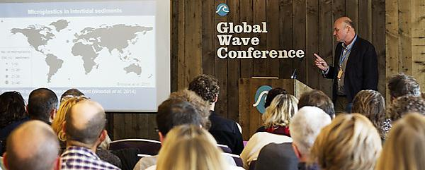 Professor Richard Thompson addresses delegates at the Global Wave Conference