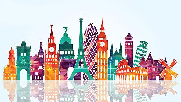 Europe skyline detailed silhouette. Courtesy of Shutterstock