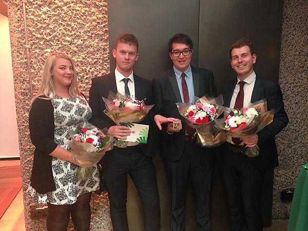 Media Arts students Adam Read, Conor Carroll, Jasmine Casey and Matthew Chappell at the YCN awards London 2015