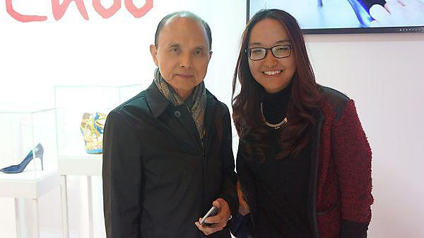 Media Arts graduate Tenzinsedon meets Jimmy Choo at the British Council's Great Creator UK Graduate Show 2015 in Beijing