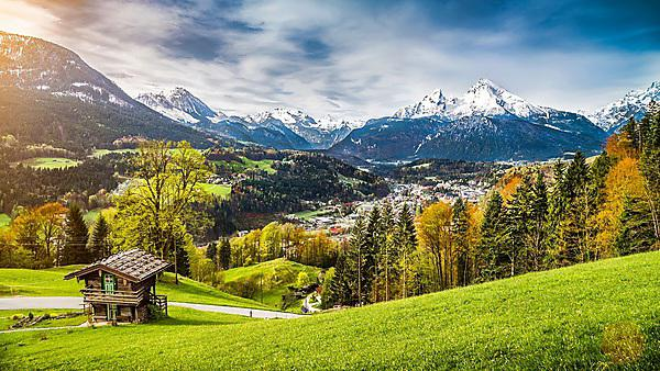Panoramic view of beautiful mountain landscape in the Bavarian Alps