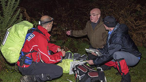 Ian Sherriff, centre, with members of the Dartmoor Search and Rescue Team Plymouth, at a recent trial of the technology on Dartmoor