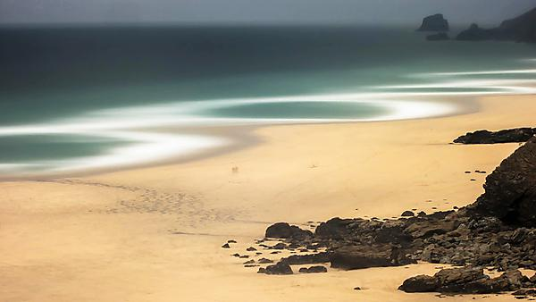 Porthtowan, Cornwall, UK. Time exposure images capture the hidden world of beach morphodynamics.