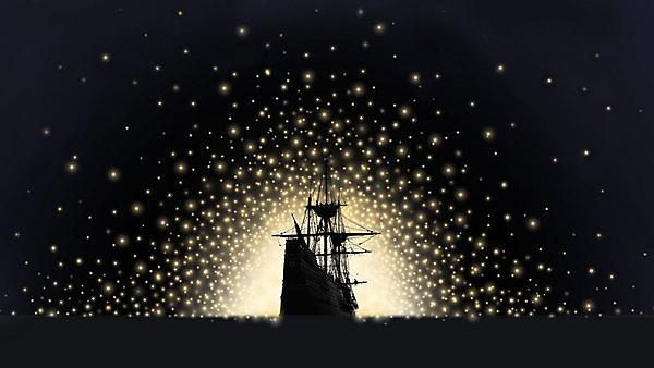 Illustration of a galleon to celebrate the Mayflower 400 Illuminate event