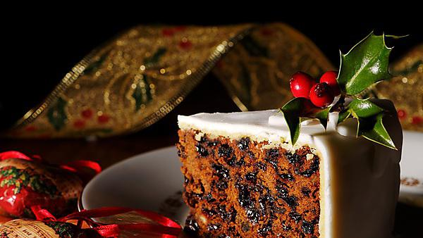 Christmas cake with holly and berries