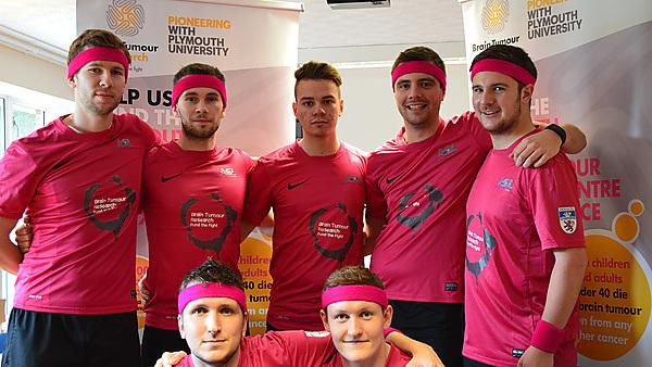 The Devon FA team who took part in the Men's Health Survival of the Fittest assault course and who raised £2800 for research into brain tumours