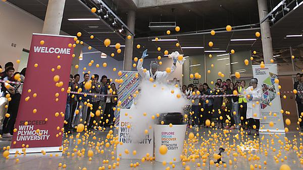 Plymouth University's Dr Roy Lowry explodes 1,650 ping-pong balls