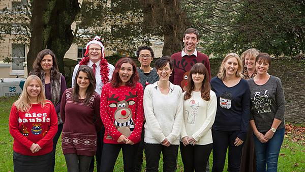 Staff in Plymouth University showing offf their Christmas jumpers to raise money for our new Brain Tumour Research.