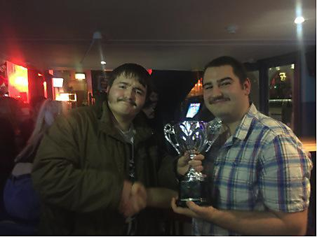 Ben (Chief social Secretary/judge, Left) presenting Dom (year 2, right) with the trophy