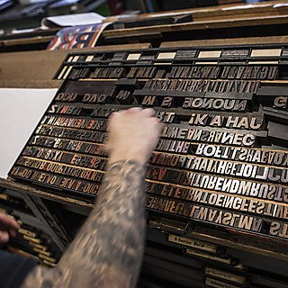 Wood and metal type used to create the prints
