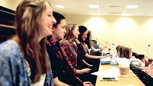 Students in lecture theatre image taken from It's not to late to apply video 2016