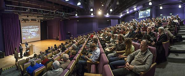 Audience members at the rewilding talk from George Monbiot and Alan Watson Featherstone