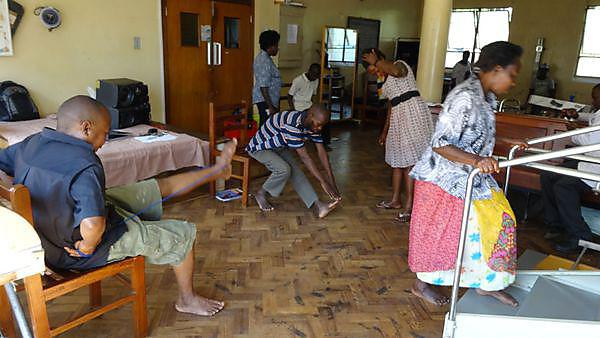 Patients at a chronic lung disease rehabilitation centre in Kampala, Uganda