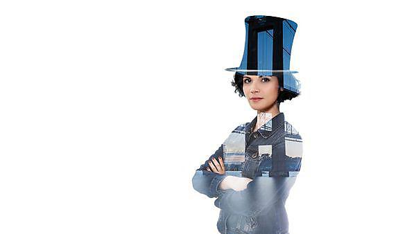 Tamar Engineering Project campaign image, woman in a Brunel style top hat
