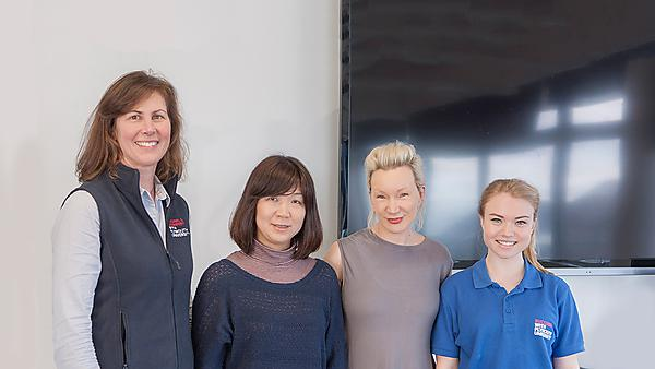 Japanese Professor visiting midwifery students (L-R) midwifery lecturer Mrs Heather Hopper ,Shizuko Angerhofer visiting from Iwate Prefectural University School of Nursing, Japan, Susannah Hart and student representative Sarah Cartwright