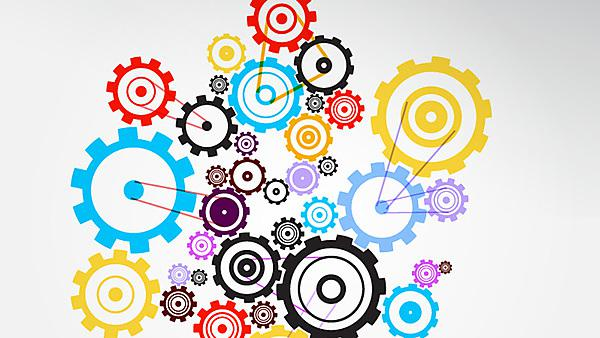 Abstract vector colorful cogs - gears on grey background, Copyright: mejnak, courtesy of Shutterstock