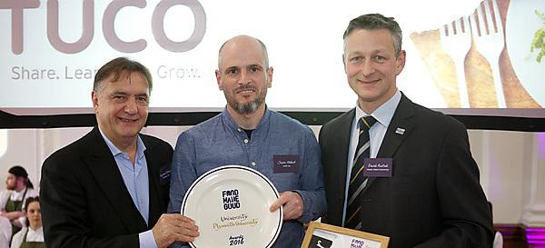 Raymond Blanc, Jason Allbutt, Plymouth University Catering Operations Manager, and David Nuttall from TUCO, which sponsored the award