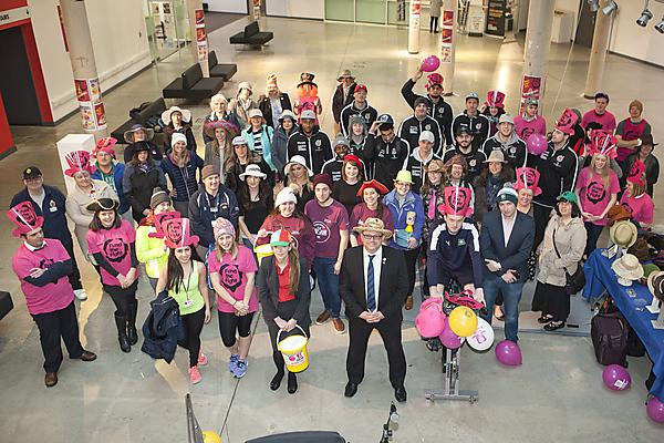 Students, staff and partners at Plymouth University celebrate Brain Tumour Research's Wear A Hat Day