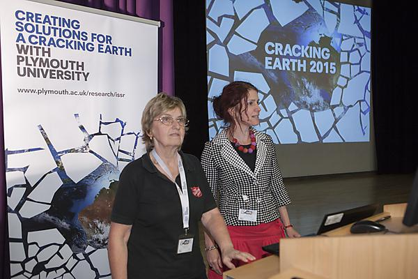 Lyndsey Withers (left) presenting with Clare Pettinger at Cracking Earth 2015