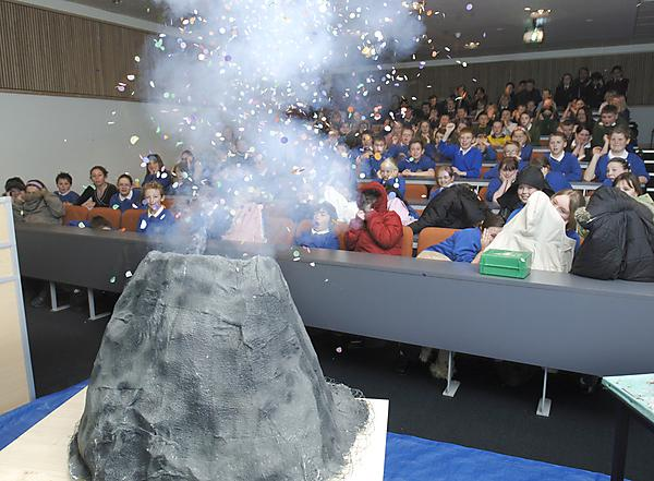 Pupils from Glen Park Primary School at a lecture entitled 'Why do Volcano's Errupt?' held as part of National Science Week.