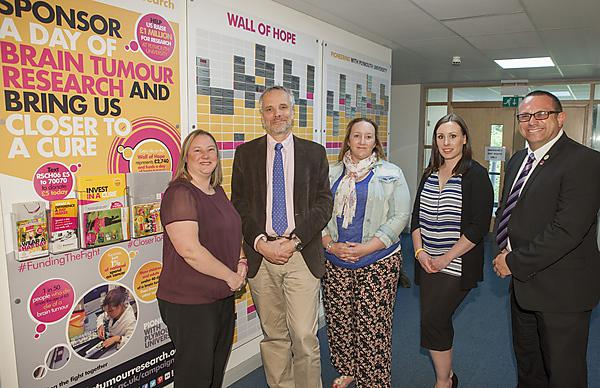 Rachel Worthington (WBW), Professor Oliver Hanemann (Plymouth University Peninsula Schools of Medicine and Dentistry, Alexa Groft, Jacqui Neate (both WBW) and Peter Jordan (Brain Tumour Research)