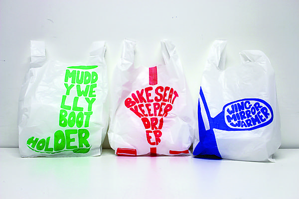 Hannah Packard's plastic bags carry a message designed to encourage people to reuse them