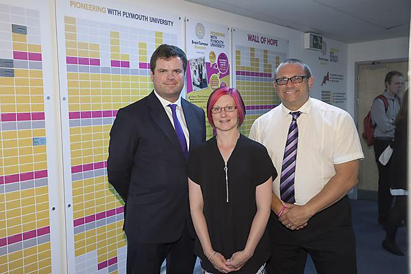 Kevin Foster, MP for Torbay, with constituent Joanne Martin and Brain Tumour Research fundraiser Peter Jordan, at the Brain Tumour Research Centre of Excellence at Plymouth University