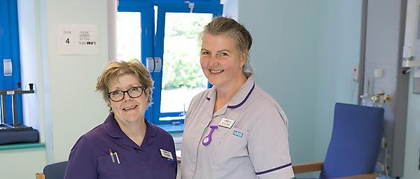 Practice nurse Susann Hayes, right, with Ward Manager Cathy Webber from the Peninsula NHS Treatment Centre (Picture courtesy of Care UK)