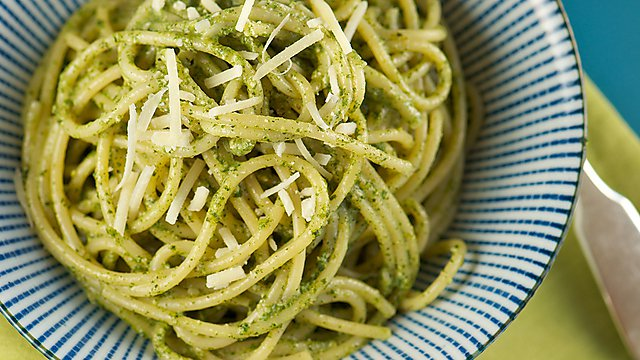 Bowl of pesto pasta
