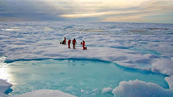 Scientists working with a University of Plymouth team on sea ice in the Arctic (credit: Simon Belt/University of Plymouth)