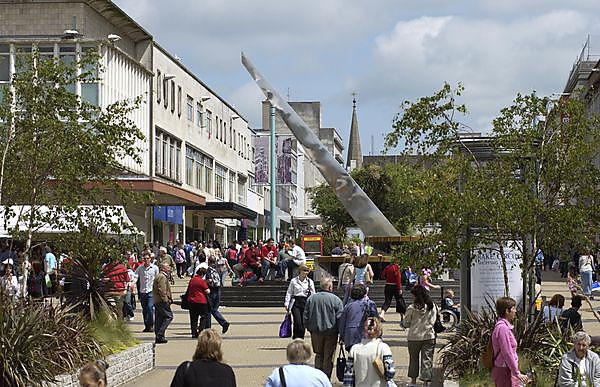 <p>People walking in Plymouth City Centre</p>
