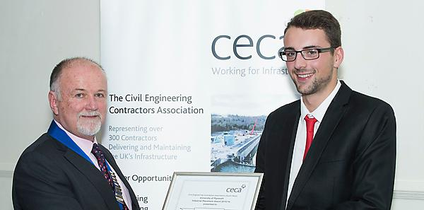<p>Peter Marsh, Chairman of CECA South West, presenting Peter Boden with the award</p>