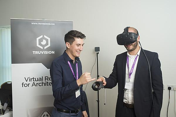 TruVision demonstrating virtual reality headset