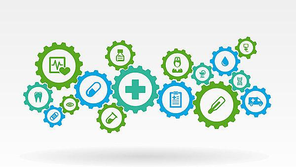 <p>Healthcare mechanism concept. Abstract background with connected gears and icons for medical, health, care, medicine, network, social media and global concepts. Vector infographic illustration.&nbsp;Copyright: Hilch, courtesy of Shutterstock.<br></p>